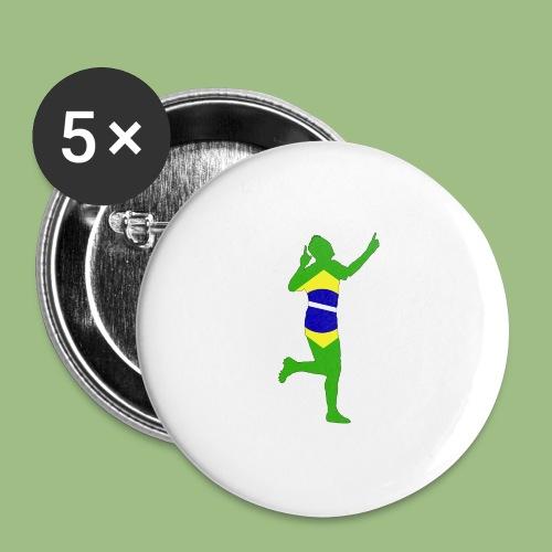 Neymár Brazil - Stora knappar 56 mm (5-pack)
