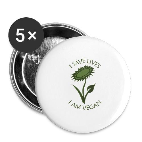 Turnbeutel vegan - Buttons groß 56 mm (5er Pack)