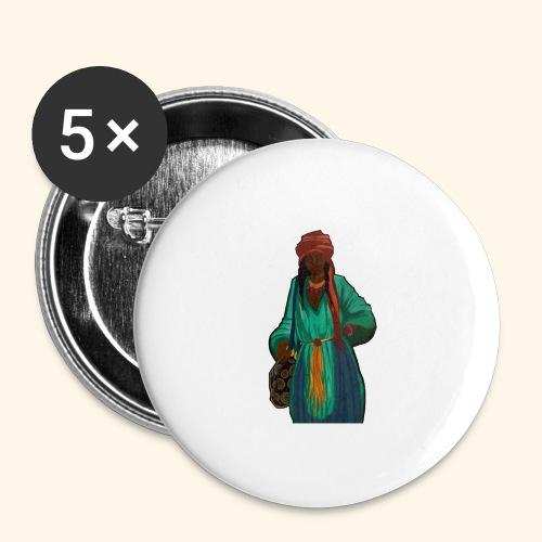 Femme avec sac motif - Lot de 5 grands badges (56 mm)