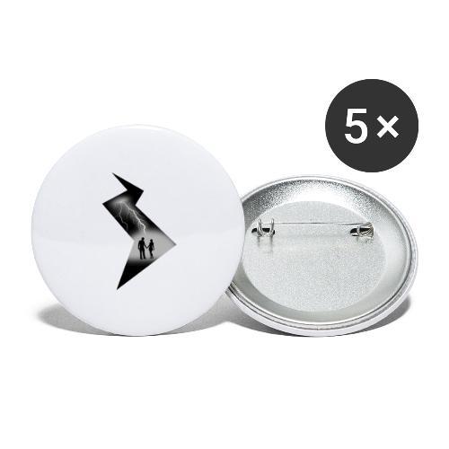t shirt coup de foudre noir et blanc amour love - Lot de 5 grands badges (56 mm)