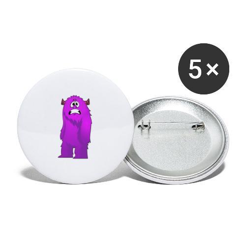 Lila Monster 10 - Buttons groß 56 mm (5er Pack)
