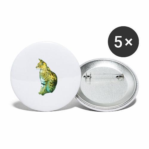 Schöner sitzender Serval - Buttons groß 56 mm (5er Pack)