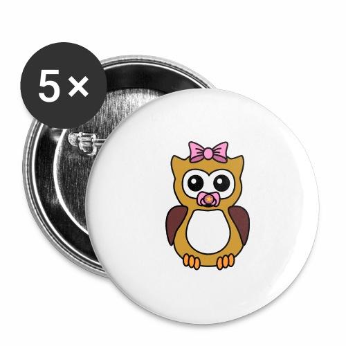 Eule Mädchen Schnuller - Buttons groß 56 mm (5er Pack)
