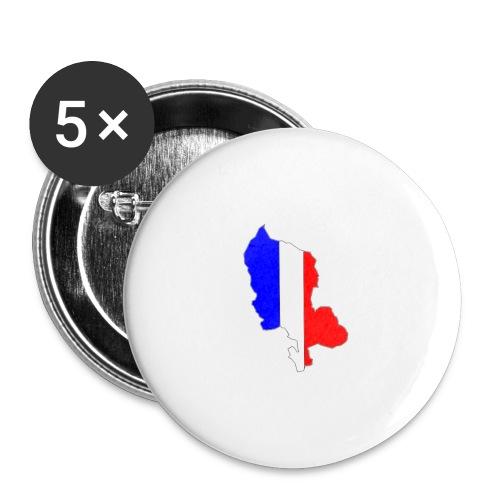 Carte Territoire de Belfort bleu blanc rouge - Lot de 5 grands badges (56 mm)