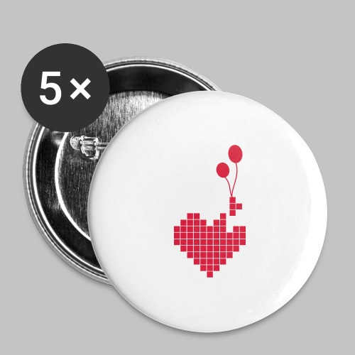 heart and balloons - Buttons large 2.2''/56 mm(5-pack)