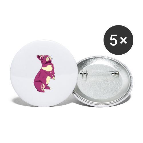 Kaninchen Hasen Häschen Bunny Zwergkaninchen - Buttons groß 56 mm (5er Pack)