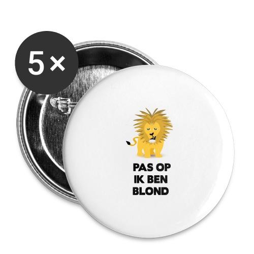 Pas op ik ben blond een cartoon van blonde leeuw - Buttons groot 56 mm (5-pack)