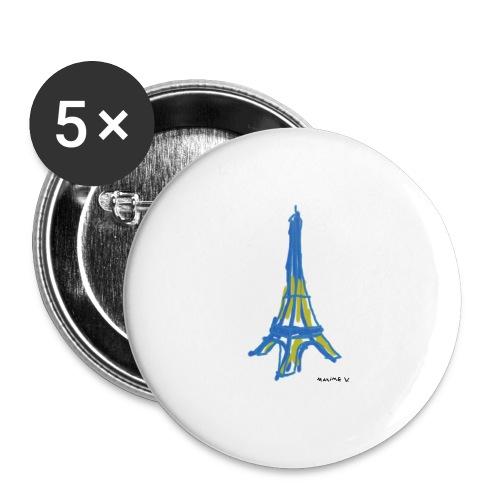 Tour Eiffel Maxime V. - Lot de 5 grands badges (56 mm)