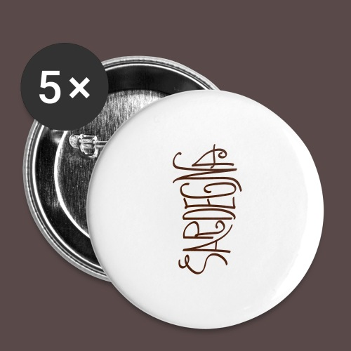 Sardegna Calligrafica v2 - Confezione da 5 spille grandi (56 mm)