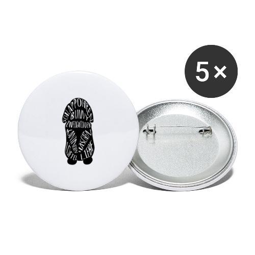 Typographie Zwergwidder Kaninchen Hasen Schlappohr - Buttons groß 56 mm (5er Pack)