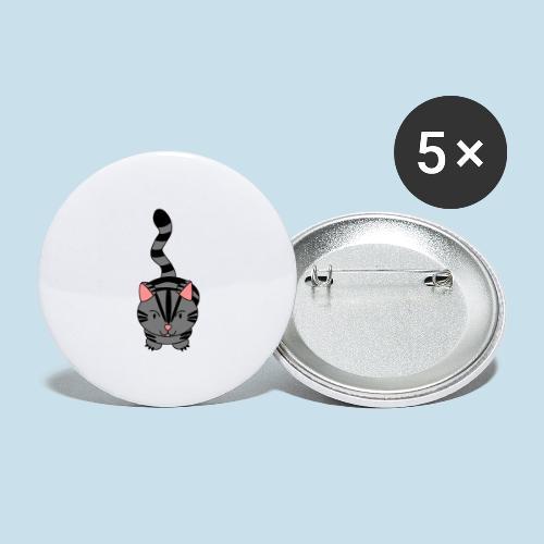 Miau Katze - Buttons groß 56 mm (5er Pack)