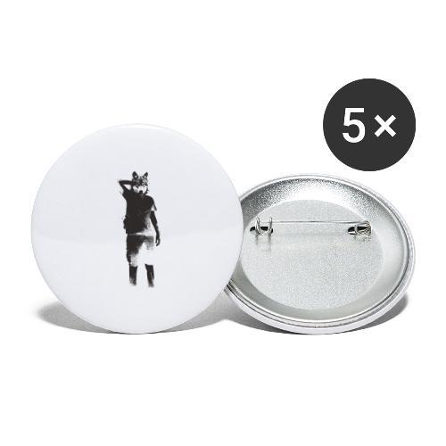 illustration loup noir - Lot de 5 grands badges (56 mm)