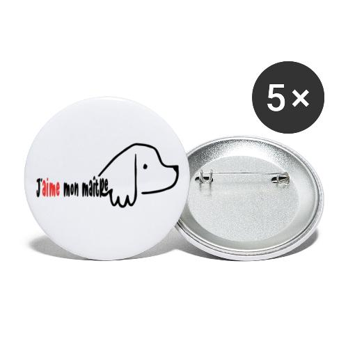 maitre et chien - Lot de 5 grands badges (56 mm)