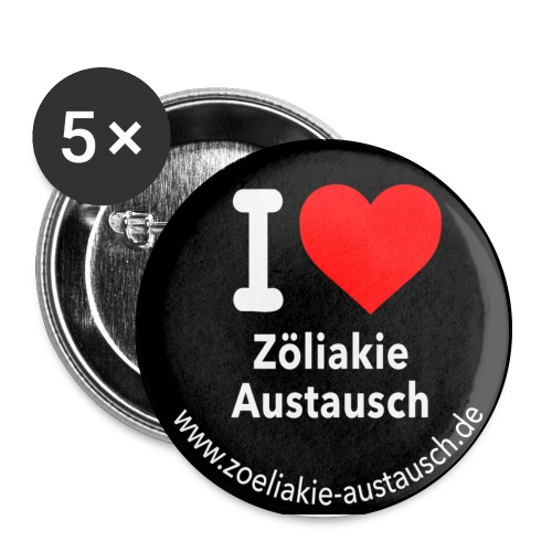 Herz Button 2015 quadrat jpg - Buttons groß 56 mm (5er Pack)