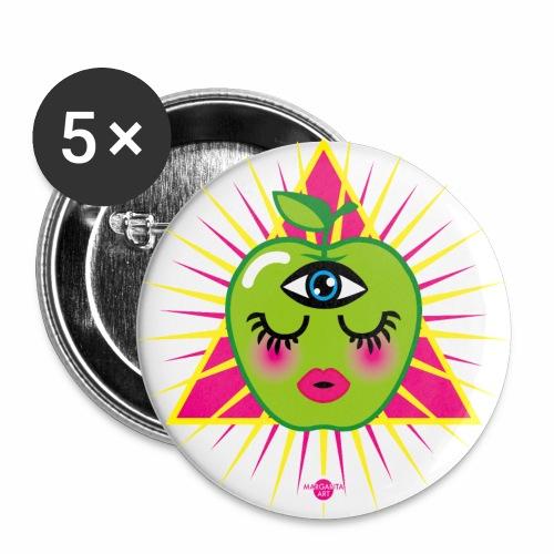 57 Apfel im Dreieck Magisches Auge Frucht Humor - Buttons groß 56 mm (5er Pack)