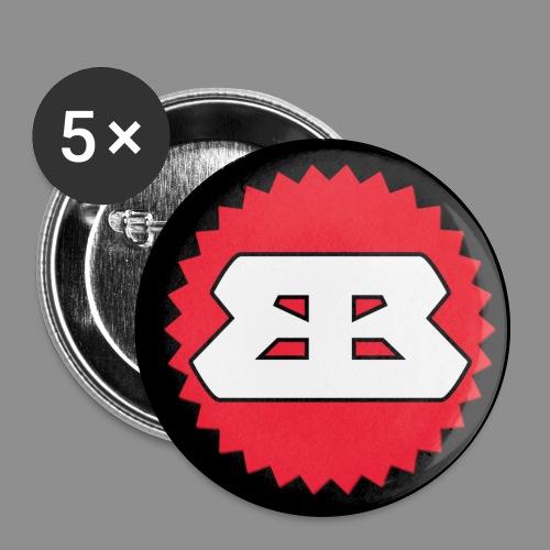 Bassbottle Logo blackBG - Buttons large 2.2''/56 mm(5-pack)