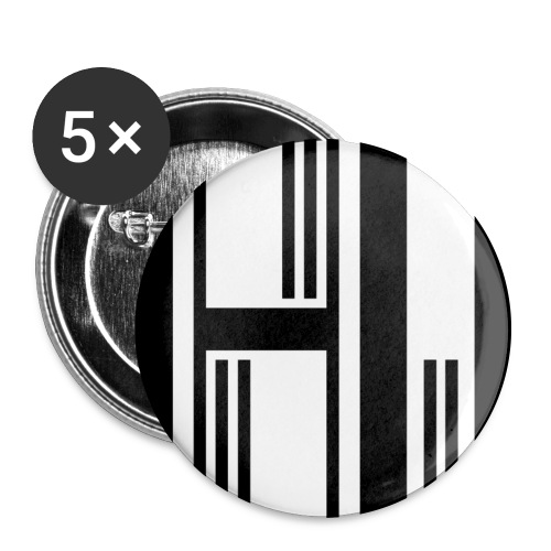 Motif en H - Lot de 5 grands badges (56 mm)