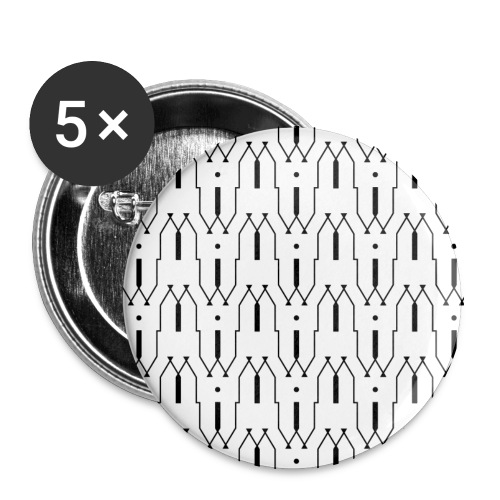 Motif en W - Lot de 5 grands badges (56 mm)