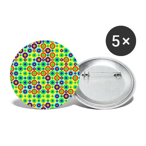 Multi-colored abstract flower pattern - Buttons large 2.2''/56 mm (5-pack)