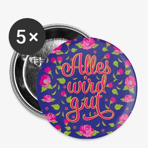 02 Alles wird gut Blumen Rosen Maske Mundschutz - Buttons groß 56 mm (5er Pack)