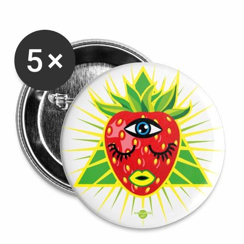 58 Erdbeere im Dreieck Magisches Auge - Buttons groß 56 mm (5er Pack)