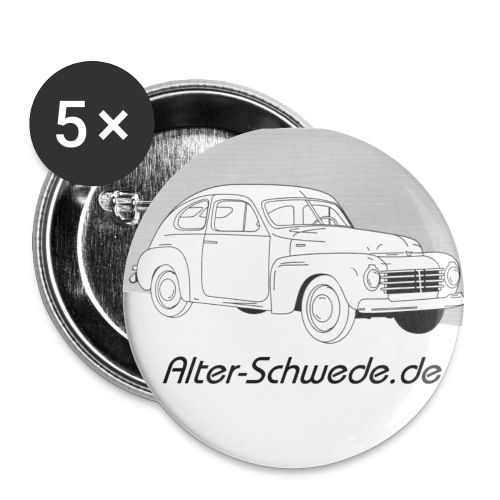 Buckelvolvo Alter Schwede - Buttons groß 56 mm (5er Pack)