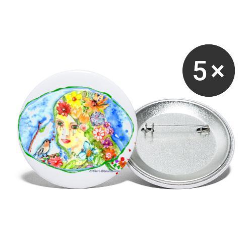 BlumenMädchen - Buttons groß 56 mm (5er Pack)