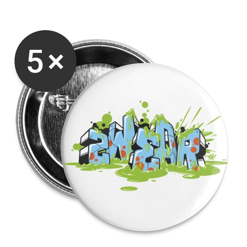 2wear Blue Block Splash √ - Buttons/Badges stor, 56 mm (5-pack)