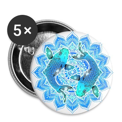 Asian Pond Carp - Koi Fish Mandala 1 - Buttons groß 56 mm (5er Pack)
