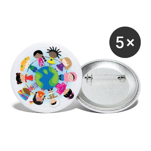 Happy Meitlis - Around the World - Buttons groß 56 mm (5er Pack)