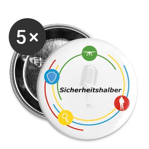 Sicherheitshalber - Buttons groß 56 mm (5er Pack)