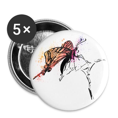 Schmetterling in Aquarelloptik - Buttons groß 56 mm (5er Pack)