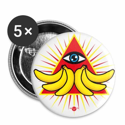56 Bananen im Dreieck Magisches Auge Gottes - Buttons groß 56 mm (5er Pack)