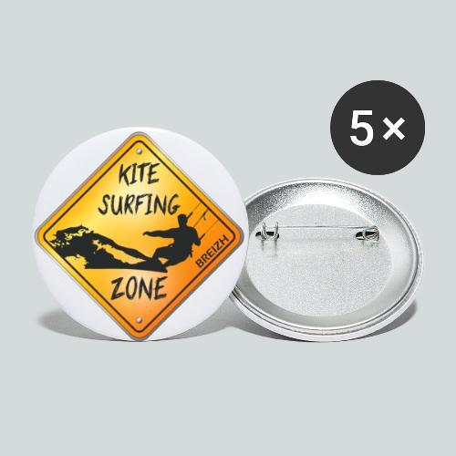 KITESURFING ZONE BREIZH - Lot de 5 grands badges (56 mm)