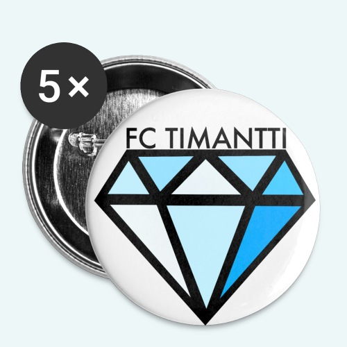 FC Timantti mustateksti - Rintamerkit isot 56 mm (5kpl pakkauksessa)