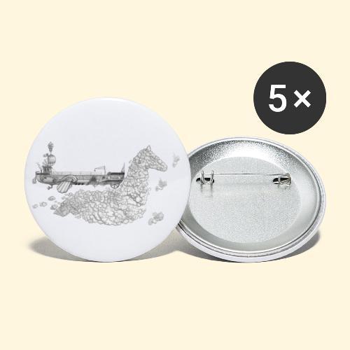 Péniche Steampunk Scaldis - Lot de 5 grands badges (56 mm)