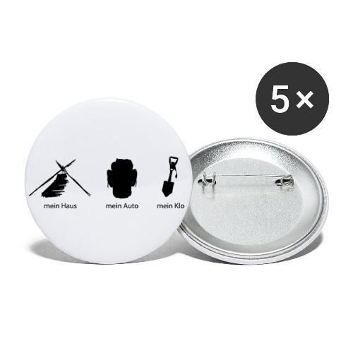 Haus Auto Klo - Buttons groß 56 mm (5er Pack)