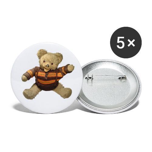 Teddybär - orange braun - Retro Vintage - Bär - Buttons groß 56 mm (5er Pack)