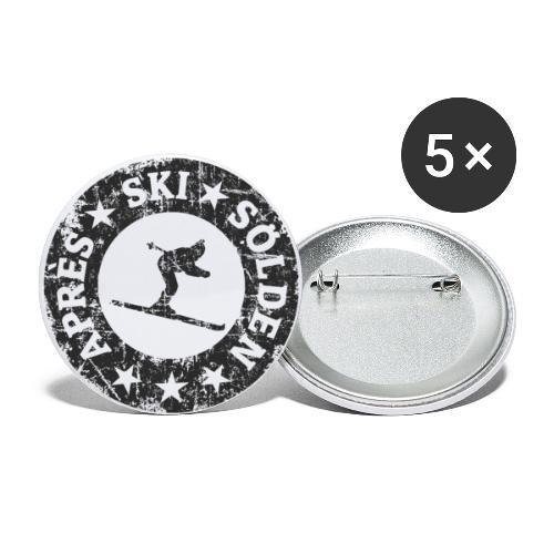 Sölden Après-Ski Skifahrer - Buttons groß 56 mm (5er Pack)