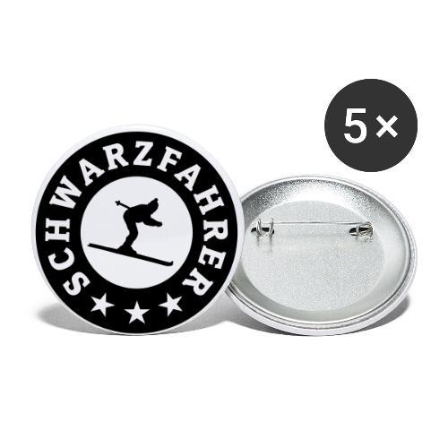 Schwarzfahrer Après-Ski Skifahrer - Buttons groß 56 mm (5er Pack)
