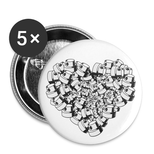 heart for art street love - Buttons/Badges stor, 56 mm (5-pack)