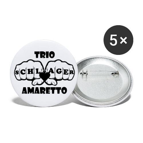 Black Print Trio Amaretto rund - Buttons groß 56 mm (5er Pack)