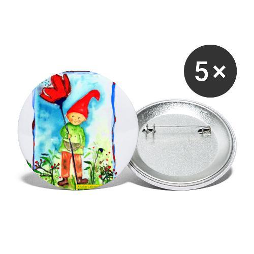 Zwerg - Buttons groß 56 mm (5er Pack)