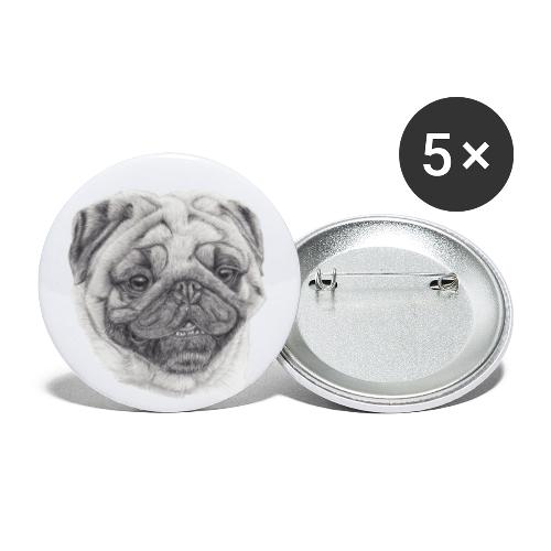 Pug mops 2 - Buttons/Badges stor, 56 mm (5-pack)