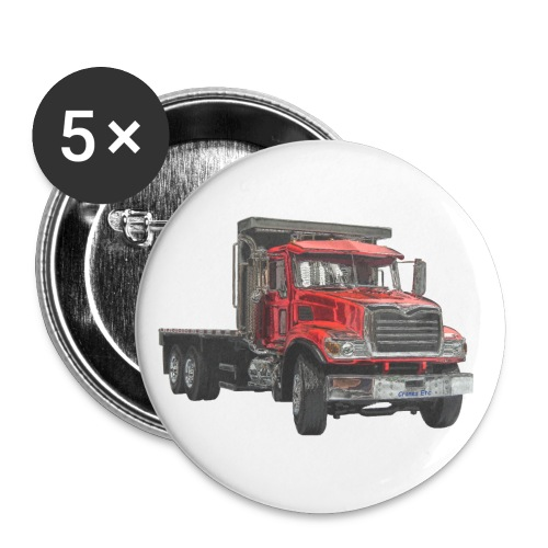 Flat Truck 3-axle - Red - Buttons large 2.2''/56 mm(5-pack)
