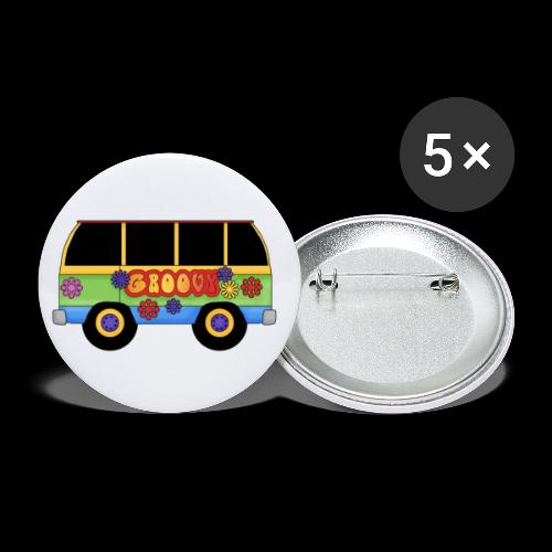 GROOVY BUS - Buttons large 2.2''/56 mm (5-pack)