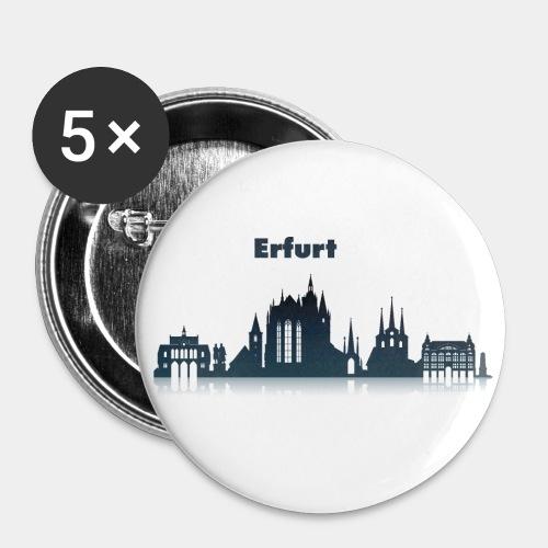 Erfurt Skyline mit Schriftzug - Buttons groß 56 mm (5er Pack)