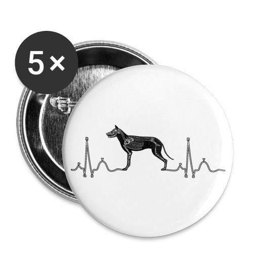 ECG met hond - Buttons groot 56 mm (5-pack)