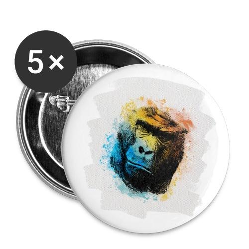 Gorilla Aquarell - Buttons groß 56 mm (5er Pack)