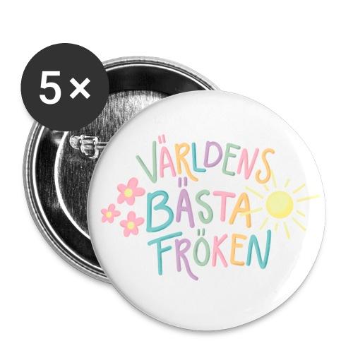 Världens Bästa Fröken - Stora knappar 56 mm (5-pack)